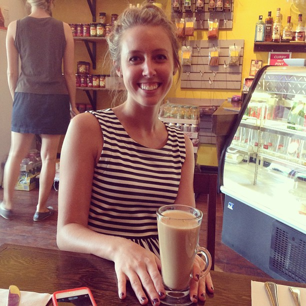 A happy customer enjoying our #masalachai #tea! #yum